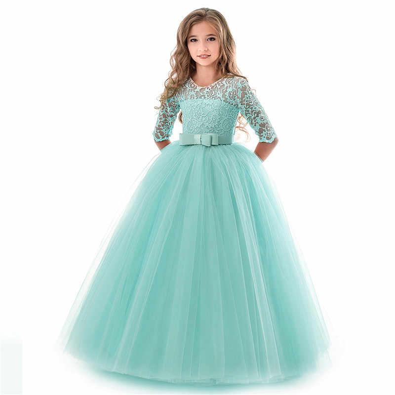 Новые Модные Детские платья для девочек; детское кружевное платье принцессы на свадьбу; costume11 12 13 14 лет; детская одежда; одежда для маленьких девочек