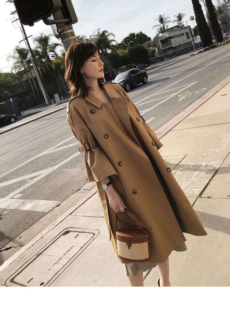 Spring and Autumn 2019 new women's casual   trench   coat oversize double breasted vintage washed outwear loose clothing