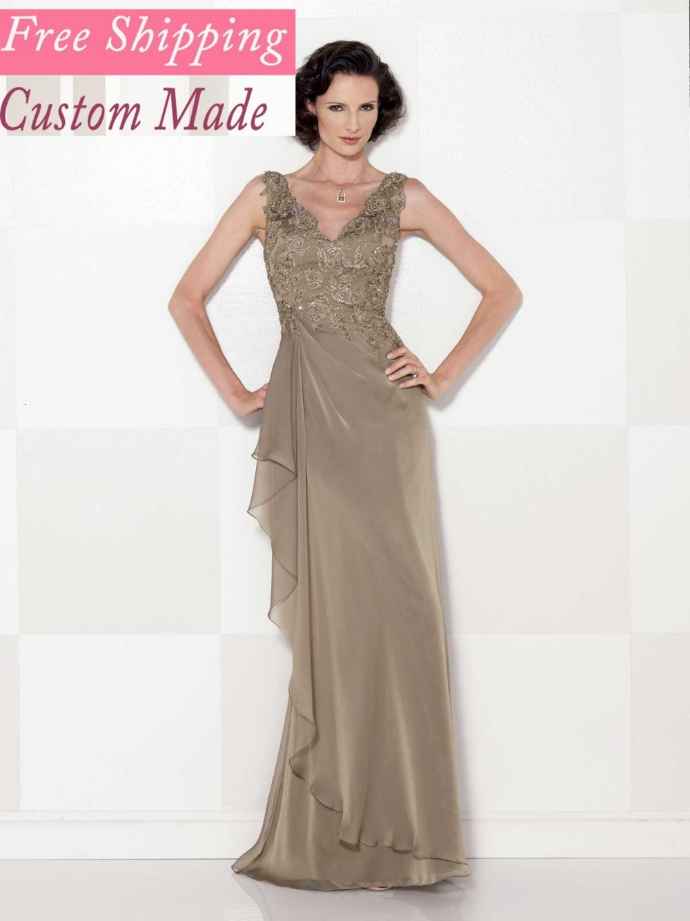 Free Shipping New Arrival Sheath V-neck Sleeveless Elastic Satin Pleated Mother Of The Bride Dresses Hot9