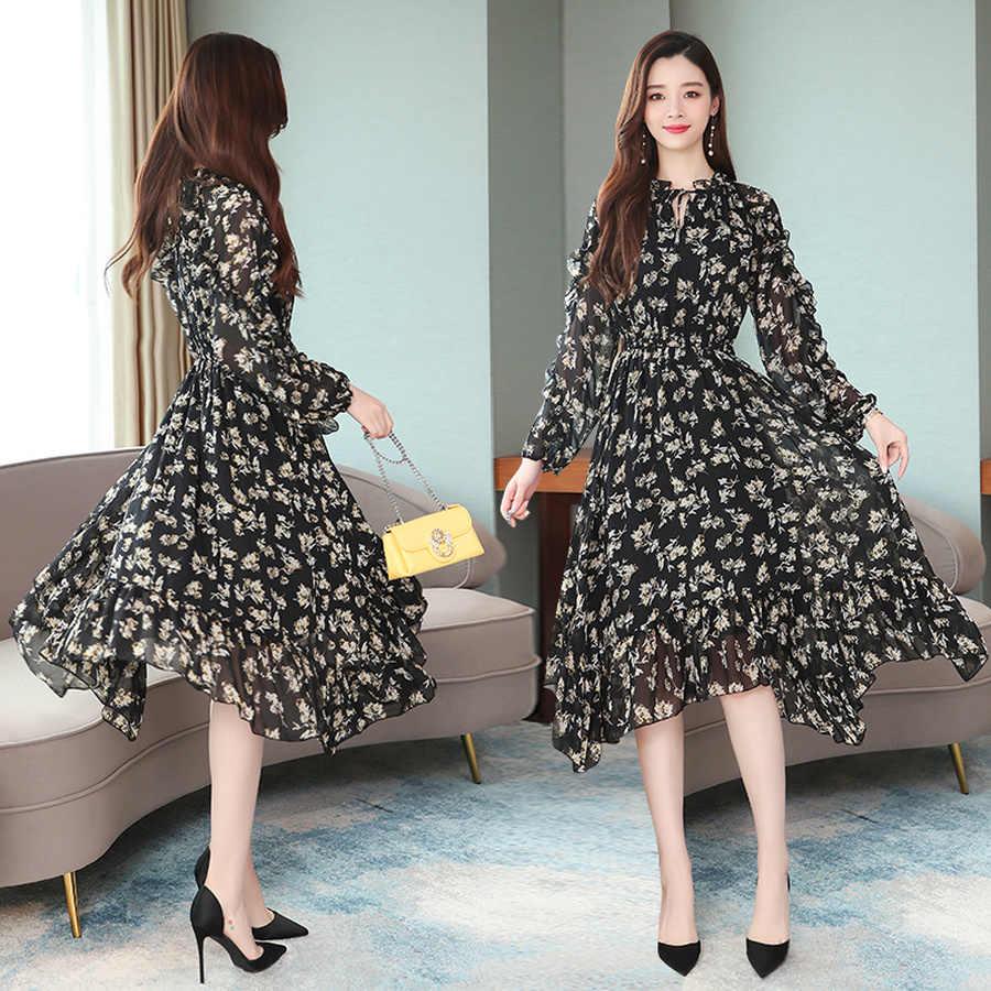 2019 винтажные черные пляжные миди платья с принтом осенне-зимние Шифоновые Платья с цветочным принтом и длинным рукавом элегантные женские облегающие вечерние платья