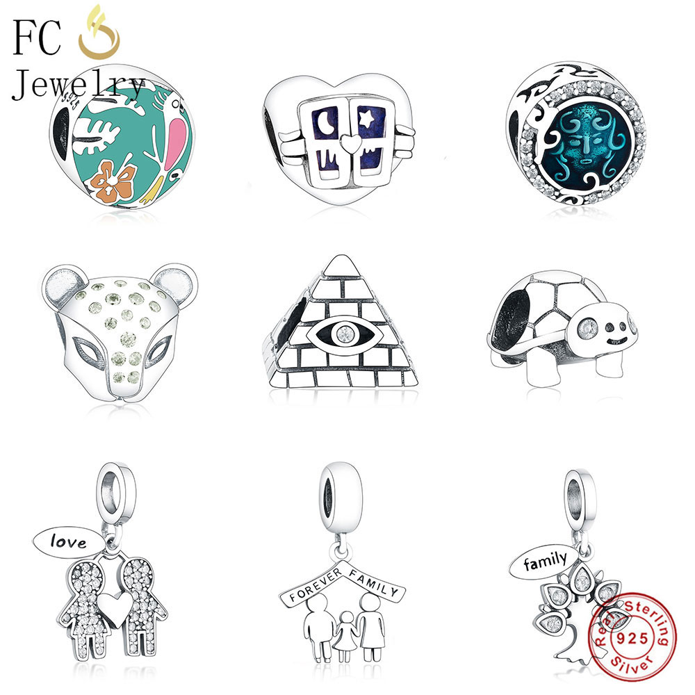 FC Jewelry Fits Original Pandora Charm Bracelet 925 Silver Enamel Sea Mickey Cross Ring Coffee Cup Beads For Making DIY Berloque