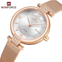NAVIFORCE Frauen Uhren Luxus Mode Diamant Damen Armbanduhren Edelstahl Silber Mesh-Armband Weibliche Quarzuhr Mädchen