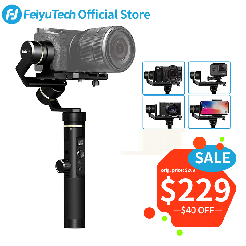 FeiyuTech G6 Plus G6P 3-Eixo Cardan Handheld Estabilizador para a Câmera Mirrorless Feiyu GoPro Carga telefone Inteligente 800g g6P