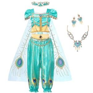 Платье принцессы для девочек цвета Жасмин; Карнавальный костюм; Детский комплект одежды на Хэллоуин с блестками; Детские вечерние костюмы п...
