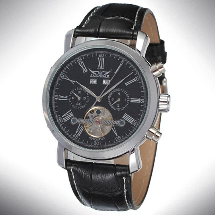 JARAGAR Fashion new product simple Roman numerals dial watch innovative hollow design calendar belt mechanical watch
