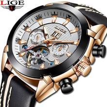 LIGE 2019New Luxury Fashion Tourbillon Automatic Mechanical Men's Watch With Cas