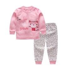 Осенний комплект одежды с рисунком для маленьких мальчиков и девочек, блузка с длинными рукавами, топы+ штаны, одежда для сна, пижамы, 4 цвета