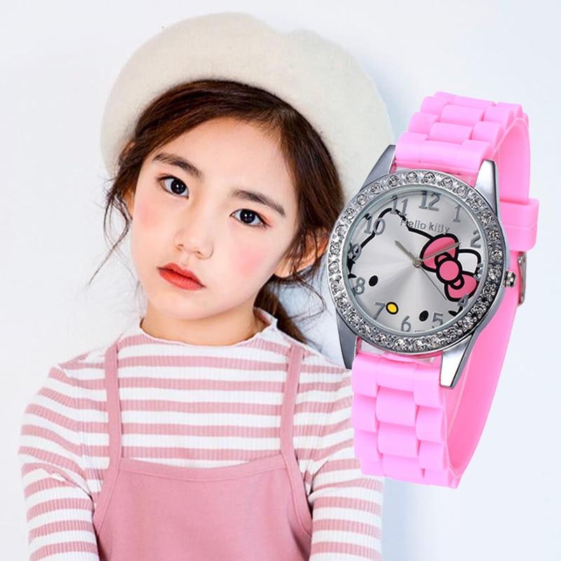 Hello Kitty Kids Watches Girls Children Watch Waterproof Cartoon  Cute Quartz Clock Montre Enfant Fille Princesse Feminino