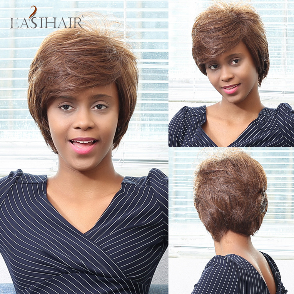 EASIHAIR Short Golden Blonde Bob Wigs Natural Straight Human Hair Mixed Synthetic Wigs for Women African American Cosplay Wigs