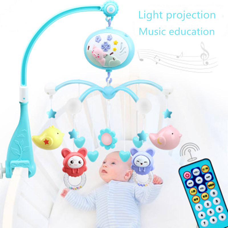 Baby Toys Crib Mobiles Rattles Music Educational Toys Bed Bell Carousel For Cots Projection Infant 0-12 Months For Newborns