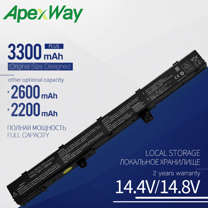 ApexWay 14.8V Laptop Battery X551M For Asus X551 X551C X551CA X451 X451C X451CA A41N1308 A31N1319 0B110-00250100 3300mAH 4 Cell