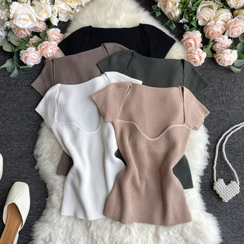 Women V-neck Knitted Short Sleeve Draw String T-shirts Crop Tops Girls Knitting Stretchy Cropped Sheath Tee Shirts For Female v neck crop tee