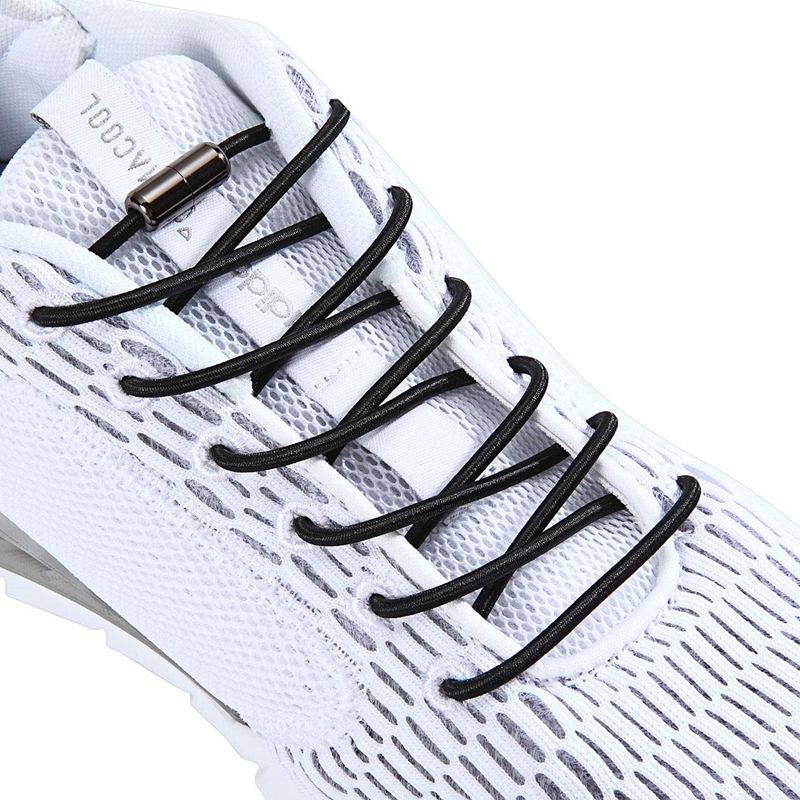 Elastic Shoelaces Round Metal Lock Outdoor Sneakers No Tie Shoelace Suitable For All Kinds Of Shoes Unisex Lazy Laces 1 Pair