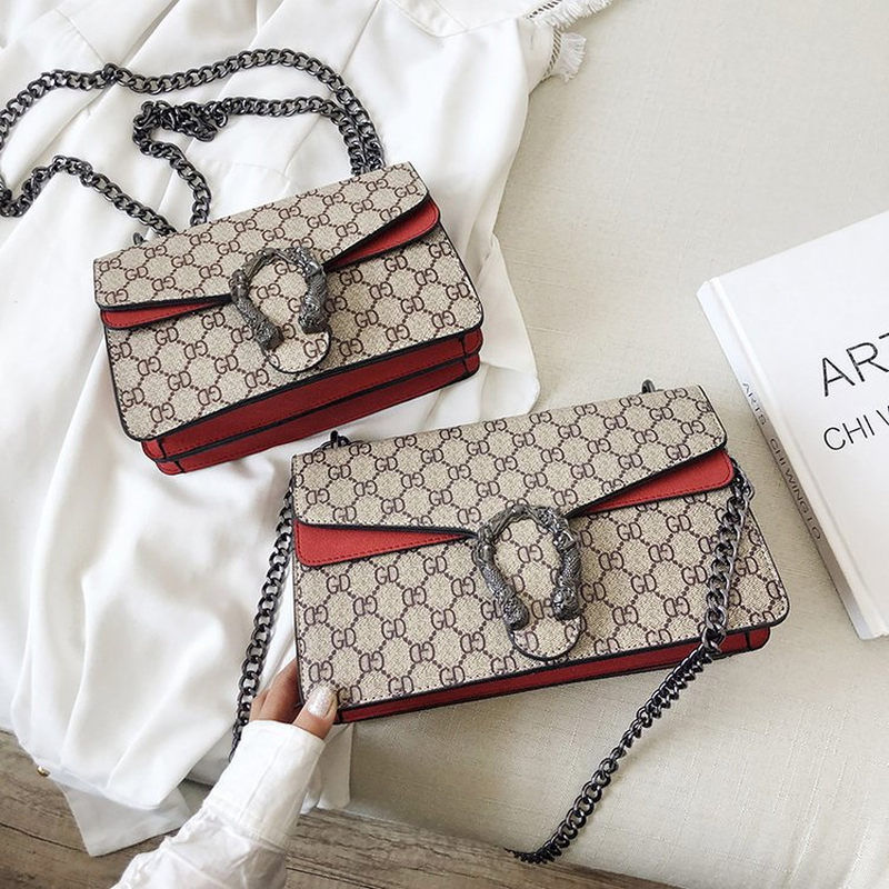 Handbag Lock-Flap Messenger-Bag Chain-Shoulder-Bag Crossbody-Bag Letter Printed Large