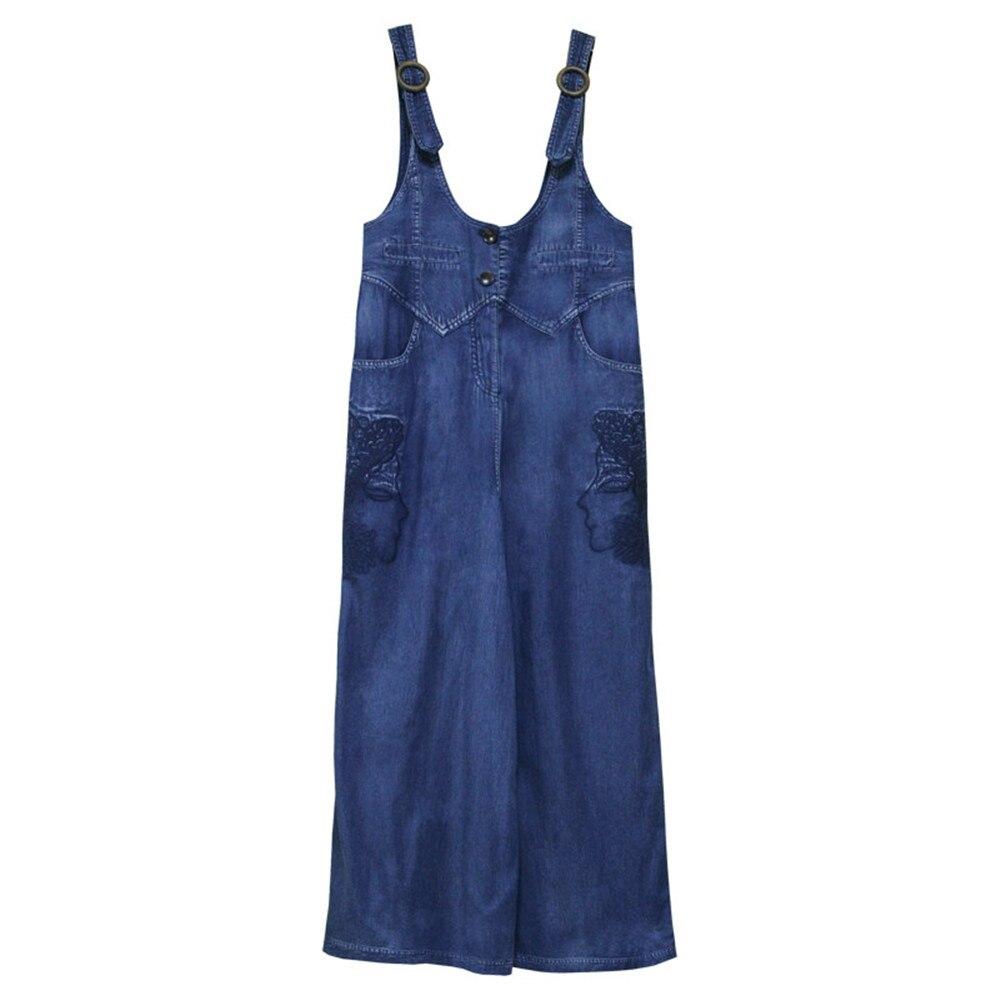 Vintage Women Denim Jumpsuit 2020 Summer Bodysuit Embroidery Color Blocks Spaghetti Strap Jumpsuits Overalls Femme (9)