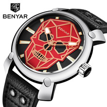 BENYAR Gold Skull Watch Mens Watches Top Brand Luxury Fashion Sport Business Leather Quartz Wristwatch Clock Men Reloj Hombre все цены