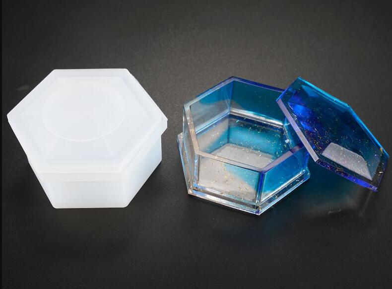 Hexagon Shape Storage Box Gift Boxes Resin Silicone Mould Jewelry Making DIY Tool UV Epoxy Resin Box Silicone Mold