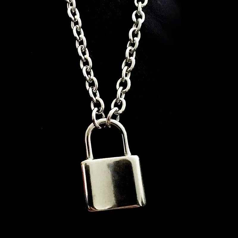 Rock Lock Choker Silver Long Chain Necklace on The Neck with Lock Punk Jewelry Mujer Key Padlock Pendant Necklace for Women Gift