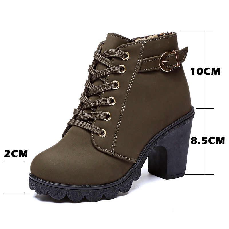 Talon haut bottines femmes bottes d'hiver en cuir chaussures femmes chaussons chaussures automne Bota talon carré 2019