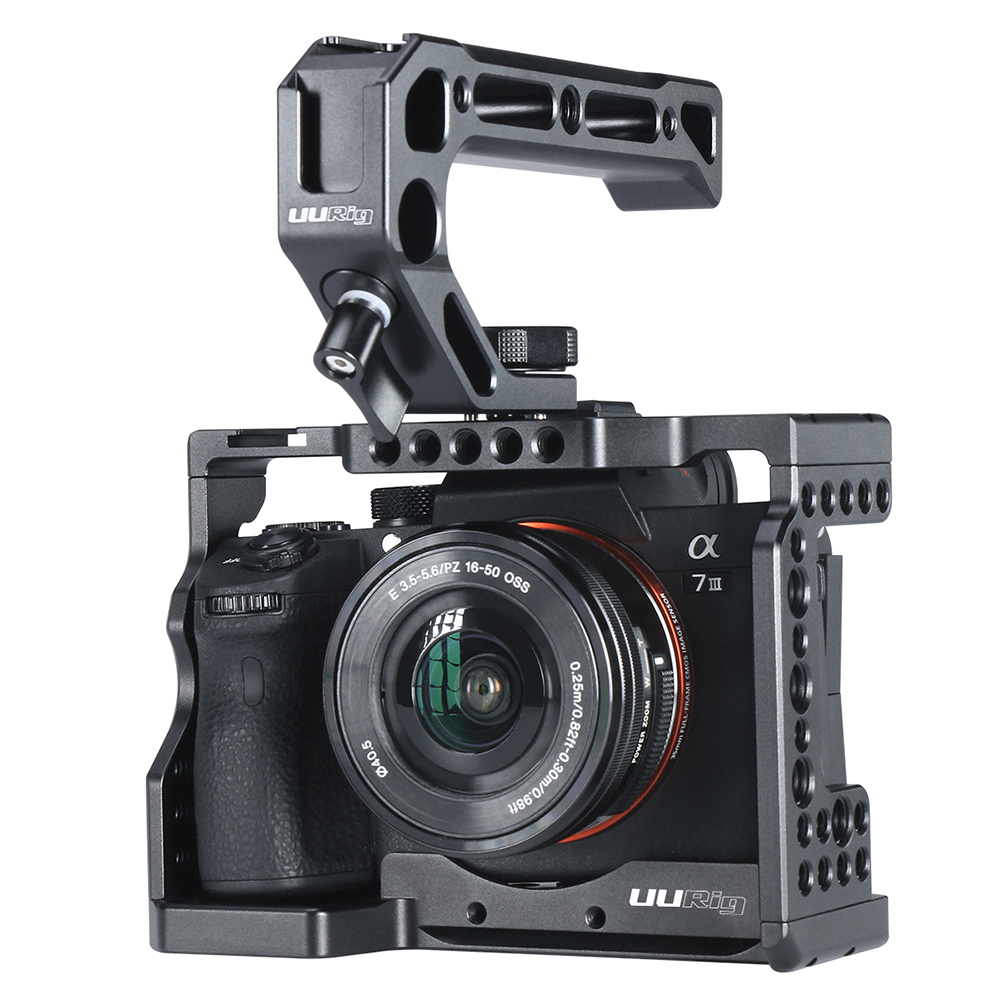 Camera Case for Sony A7III A7M3/A7R3 Vlogging Metal Cage with Arri Locating Hole Cold Shoe For Microphone Top Handle Grip UURig
