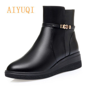 AIYUQI Ladies Snow Boots Winter New Genuine Leather Casual Wedges With Wool Warm Mother Shoes Short