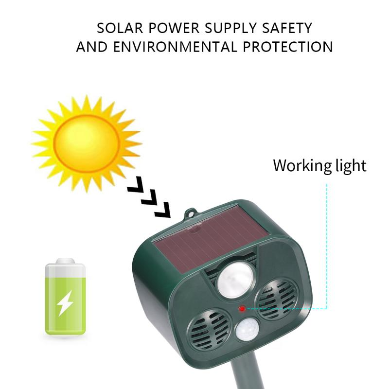 Solar Powered Animals Repeller Outdoor Camping Ultrasonic Alarm Device With Motion Sensor And LED Flashing Lights Dropshipping