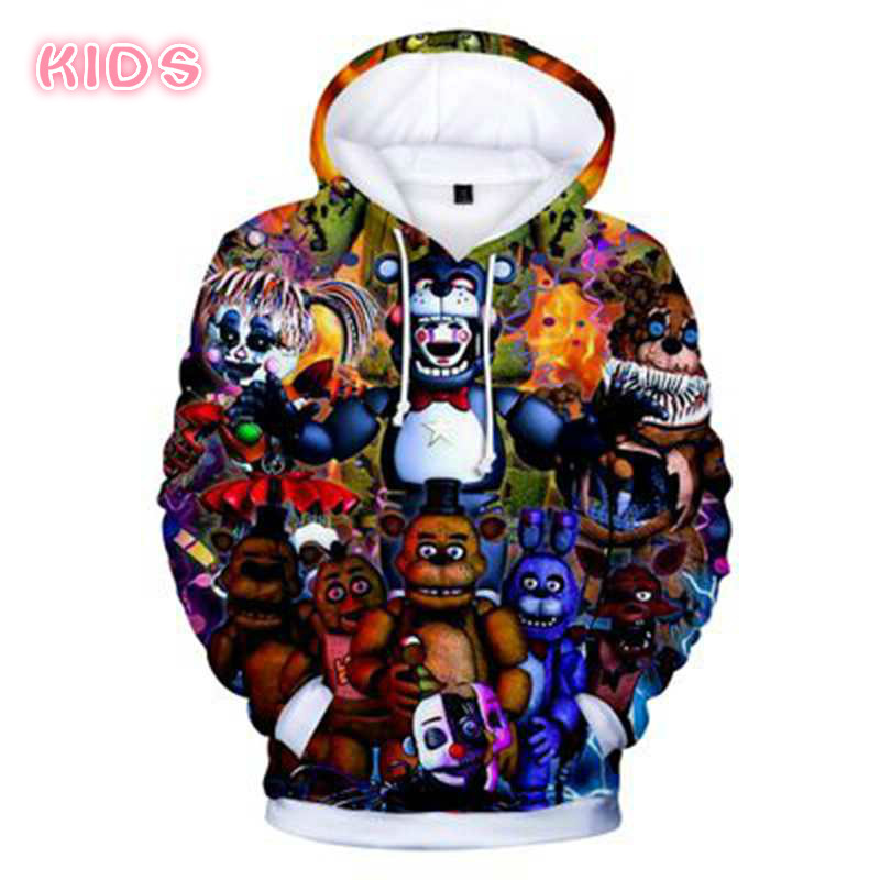 New Autumn 3D Print Five Nights At Freddys Sweatshirt For Boys School Hoodies For FNAF Costume For Teens Sport Clothes Kids Tops