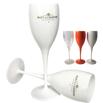 2 cups Champagne Flutes Glasses Plastic Wine Glasses Dishwasher-safe White Moet Acrylic Champagne Glass Transparent Wine Glass