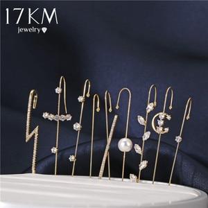 17KM Bohemian Wedding Ear Wrap Crawler Hook Earring Crystal Stud Earrings For Woman Lightning Zirconia Climber Earrings Jewelry