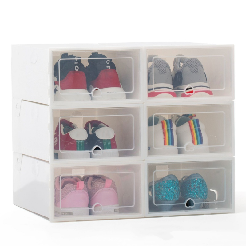 New Artifact Transparent Shoe Rack Combination Shoe Storage Box Ladies Thick Clamshell Plastic Shoe Organizer Desktop