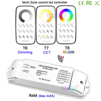 T6 + r4m/t7 + r4m/t8 + r4m multi zona escurecimento/cct/rgbw max 5x4a rf controle com receptor para luz de tira conduzida  DC12V-24V