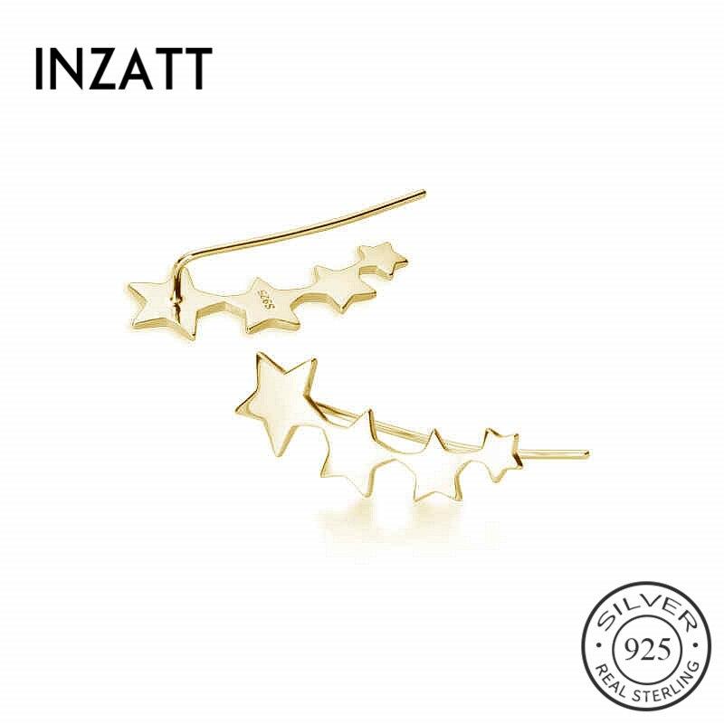 INZATT Real 925 Sterling Silver Geometry Star Stud Earrings For Fashion Women Party Fine Jewelry Minimalist Cute Accessories