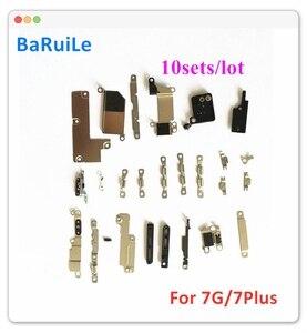 Image 1 - Baruile 10 jogos/lote interno conjunto de metal completo suporte para iphone 7 7 p plus 7g dentro peças pequenas placa escudo acessórios kit