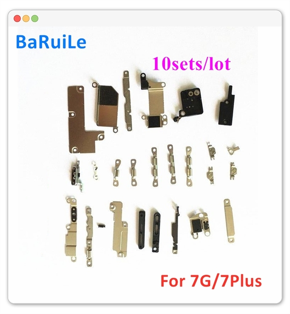 Baruile 10 jogos/lote interno conjunto de metal completo suporte para iphone 7 7 p plus 7g dentro peças pequenas placa escudo acessórios kit