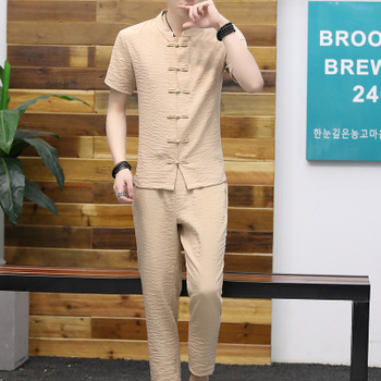 Chinese style cotton and linen short-sleeved shirt suit youth Slim retro stand collar Tang linen two-piece suit