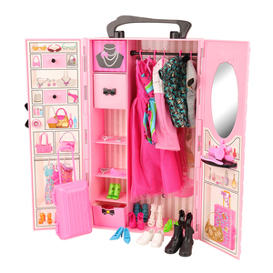 Image 2 - Fashion 43 Items/set Dollhouse Furniture Toys = wardrobe + 42 Dolls accessories Clothes for barbie Ken Game Christmas Kids Toys