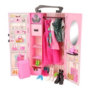 Image 2 - Mode 43 Items/Set Poppenhuis Meubels Speelgoed = Garderobe + 42 Poppen Accessoires Kleding Voor Barbie Ken Game Kerst kinderen Speelgoed