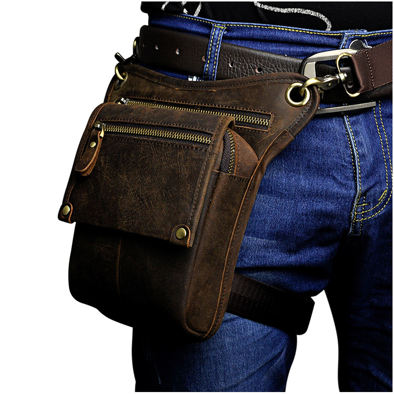 Men's Genuine Leather Waist Bag Multi-function Hip Belt Fanny Gun Pack Casual Drop Leg Thigh Bag Male Messenger Shoulder Bags