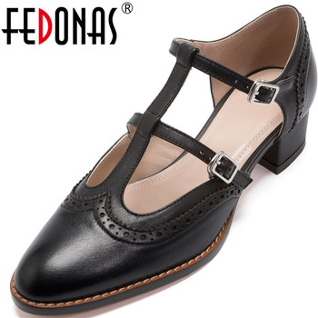 FEDONAS Classic Design Women Party Working Pumps Spring Summer Metal Decoration Square Heels Pumps Slip On 2020 New Shoes Woman