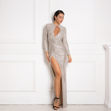 Sexy Hollow Out Sequined Maxi Dress Full Sleeved Split Leg Long Stretchy Party