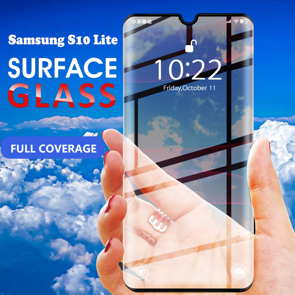 RDCY 6D Full Coverage Tempered Glass for Samsung Galaxy S10 Lite Full Cover Screen Protector Film on A51 A71 A81Protective Glass