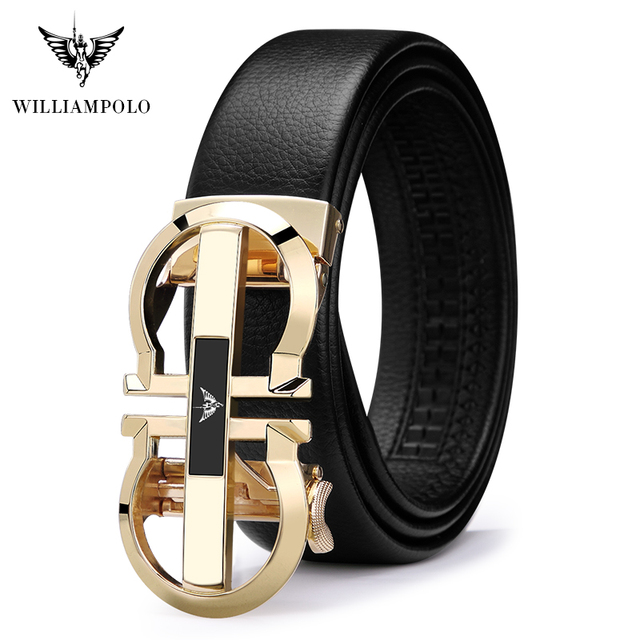 WilliamPolo Genuine Leather Belt Men Cowskin Strap Luxury Belts For Male Alloy Automatic Buckle Fashion Belt Casual Gold PL18335