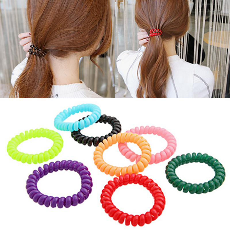 Hair Ties Super Thin Women Rubber Girls Colorful Plastic Ropes Lady 1PC/5PCS Telephone Wire Hair Band New Hair Ropes