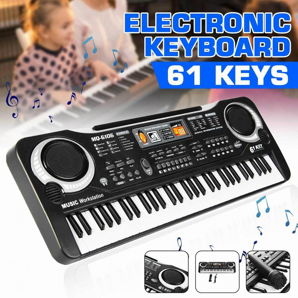 61-Key Digital Electric Piano Keyboard Portable Multi-Functional Keyboard With Microphone Music Keyboard Electric Keyboard