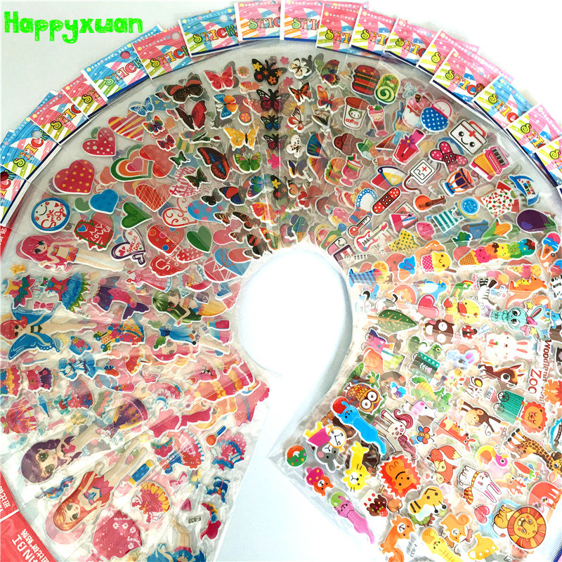 50 Sheets/lot Mini Cartoon Puffy Stickers Children Dress Up Animal Fruit Classic Toys For Kids Girls School Teacher Rewards
