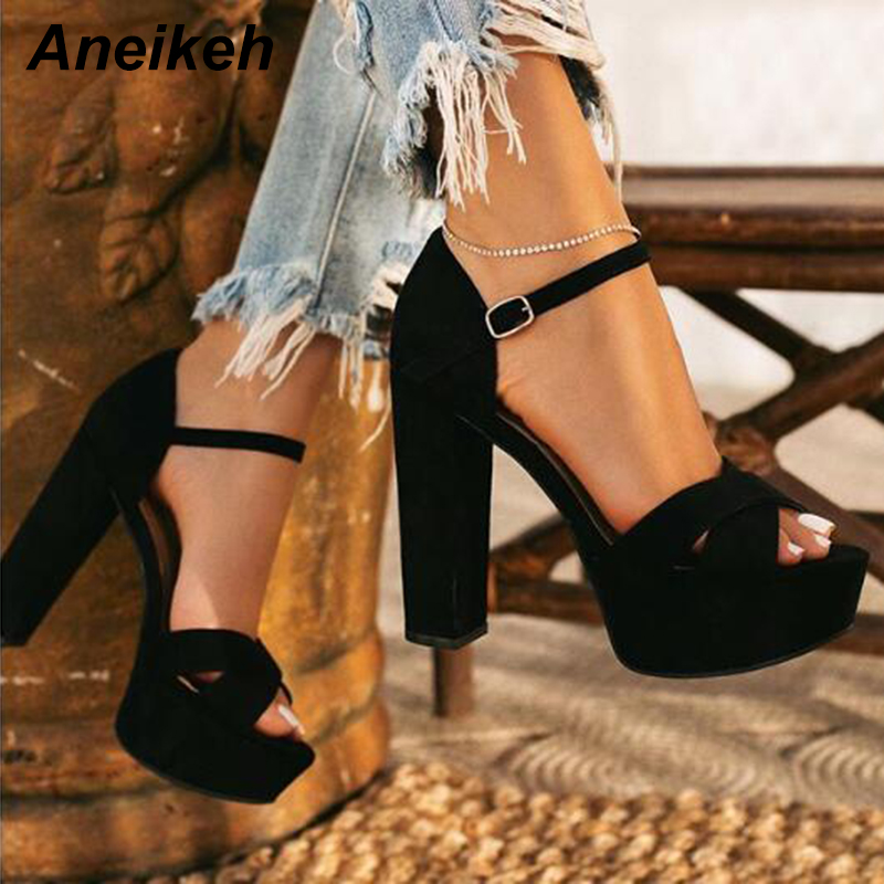 Aneikeh 2020 Fashion Flock Gladiator Sandals Woman Peep Toe Platforms High Heels Ankle Strap Pumps Party Nightclub Shoes Size 42