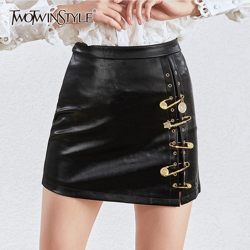 TWOTWINSTYLE Asymmetrical Patchwork Pins Skirts Women High Waist PU Leather Casual Mini Skirt Female 2020 Fashion Clothing Tide