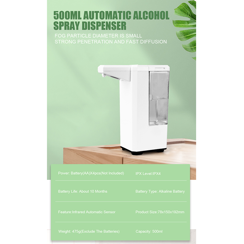 Alcohol-Dispenser Machine-Sensor Spray Hand-Disinfection Touchless Automatic 500ML New
