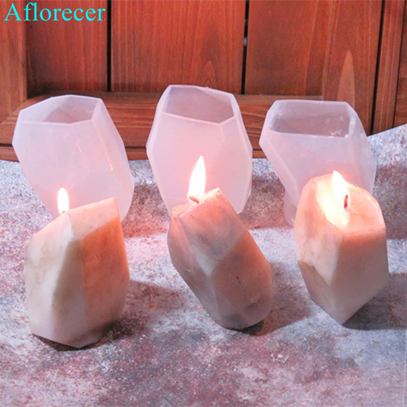 3D Geometric Stone Shape Candle Mold Silicone Mold DIY Aroma Plaster Craft Mould Small Candle Resin Soap Molds Xmas Home Decor