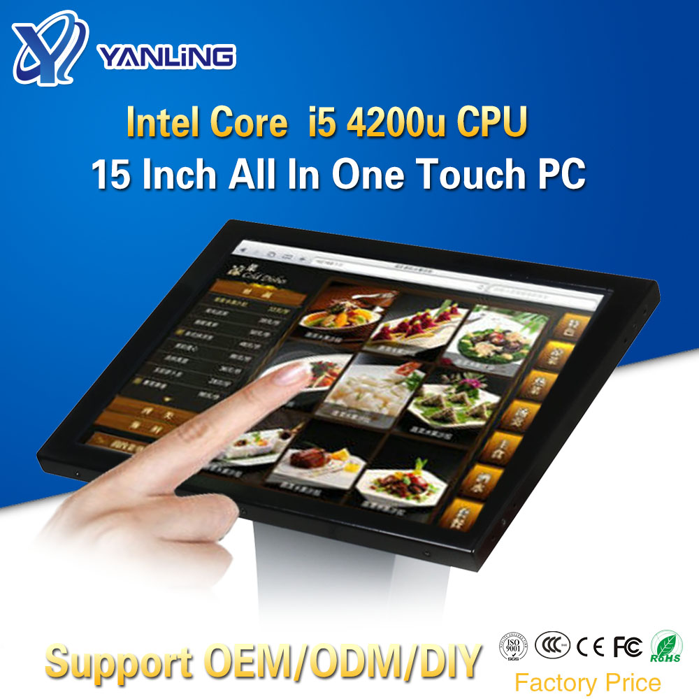 Yanling Factory Core I5 4200u All In One Computer With 15'' LCD Resistive Touchscreen Panel PC Support LVDS VGA HDMI Display